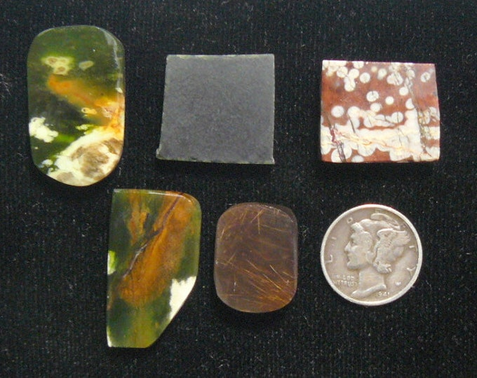 5 Preformed rough slabs, rare and unique multi colored, natural, Chrome Chalcedony, Gem Hornblende, Shattuckite, more (rs8402)