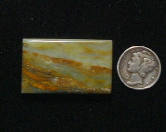 Peruvian Opal Cabochon, 22x32x5 mm, flat back, natural scenic picture stone (c471)