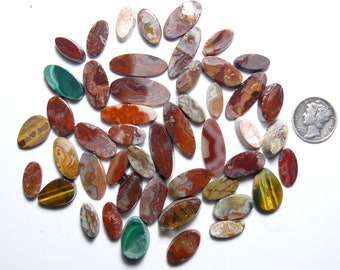 48 small marquise and teardrop  shape rough slabs, for accents, rings or slabs, natural, crazy lace, agate and jasper.  (rs72312)