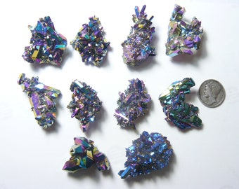 Aurora Azotic natural crystal clusters, Rainbow color, lab technology (aq83001)