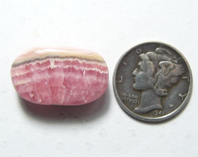 Pink Rhodochrosite Cabochon, 12.5 x 21 x 4.5 mm, flat back, natural rare, small ring size, translucent  (c62901)