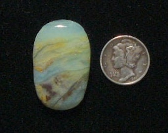 Peruvian Opal Cabochon, 20x32x6 mm, flat back, natural stone, translucent, rare and unique.  (c51403)