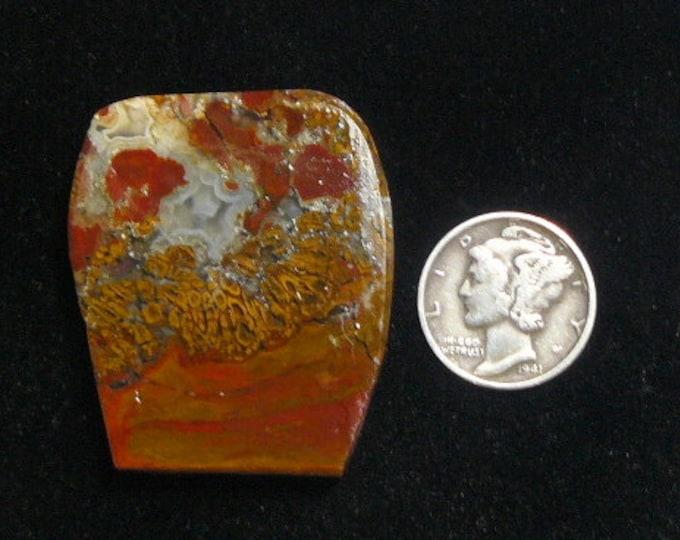 East Java plume agate, preformed rough slab, 38 x 32 x 5 mm, scarce agate, natural, translucent quartz (rs91702)