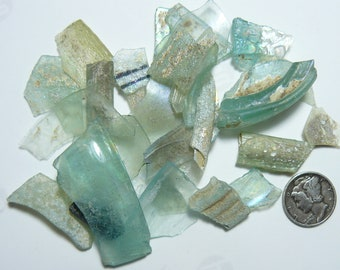 Ancient Roman Glass Shards (33.5 g) from ancient Hebron Roman glass factories, over 2000 years old  (s21911)