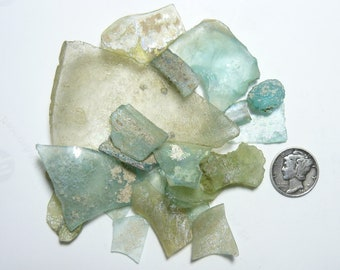Ancient Roman Glass Shards (37 g) from ancient Hebron Roman glass factories, over 2000 years old  (s2411)