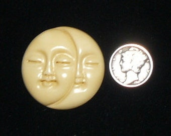 """Carved bone Sun and Moon Face jewelry supplies, 1 3/8"""", 6 available (c71002)"""