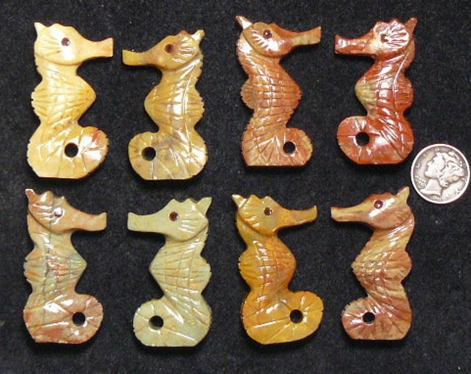 Carved Jasper seahorse,  jewelry supply, hand carved in India, drilled hole.  (j71007 )