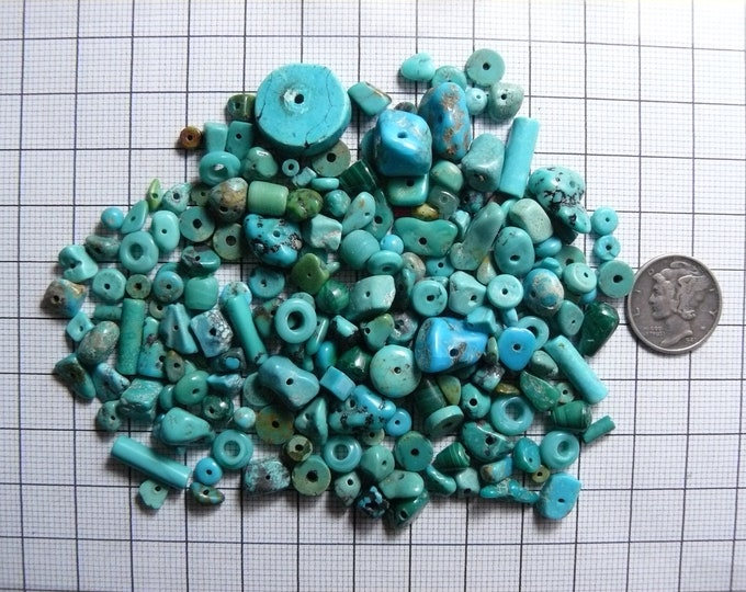 180 Turquoise drilled beads, small mixed sizes, blue and green beads  (tb4102)