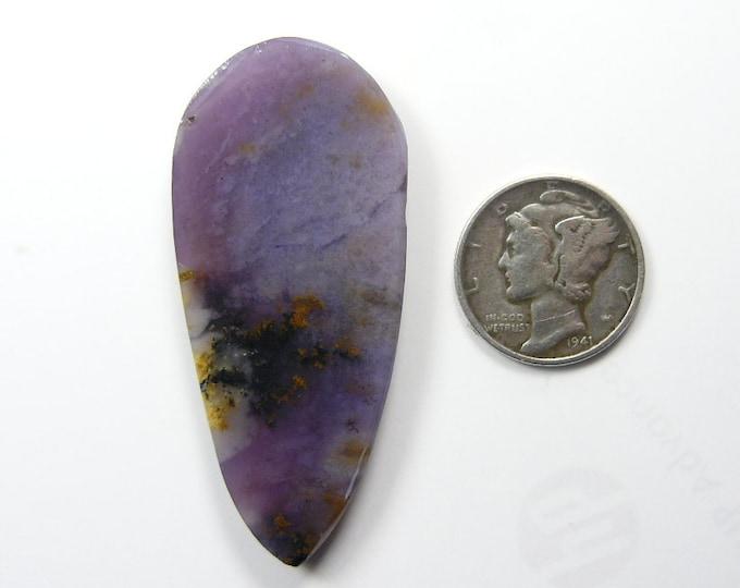 Amethyst Sage preformed rough slab, 58 x 93 x 5 mm, translucent, black, chalcedony, dendritic (rs6712)