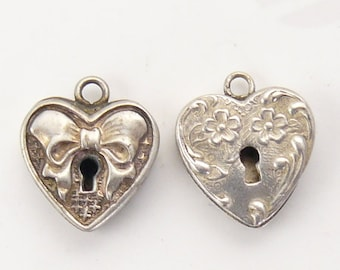 2 Vintage Sterling Silver hearts with key hole, marked sterling, no hallmark, beautiful condition  (s71812)