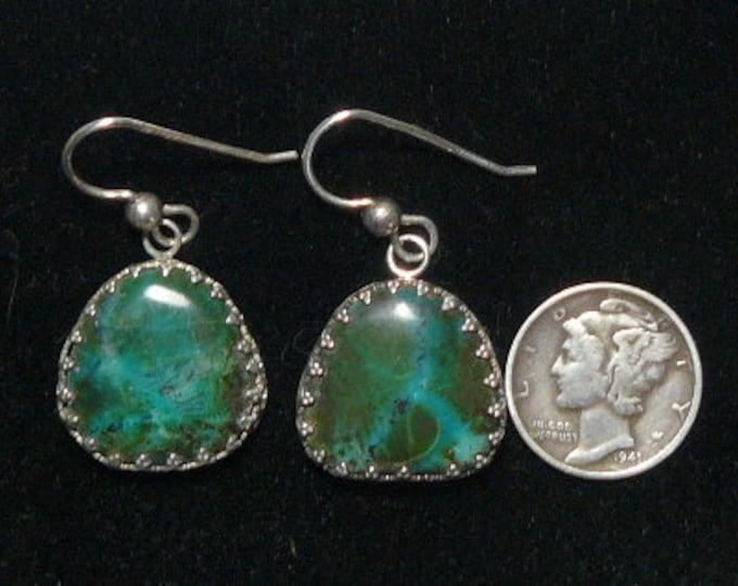 "Gem Chrysocolla earrings. 3/4 x 1 1/2"", natural, rare Chrysocolla with saginite crystal, beautiful blue color  (j91608)"