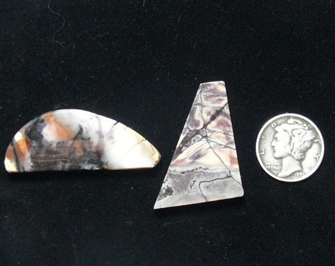 2 Porcelain Jasper and Tiffany Stone preformed rough slabs, lot of 2, natural picture stones (rs12512)