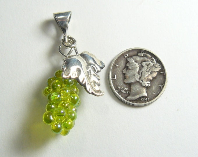 Grape and SS Oak leaf pendant, hand sewn double strand, iridescent chartreuse glass beads (j92702)