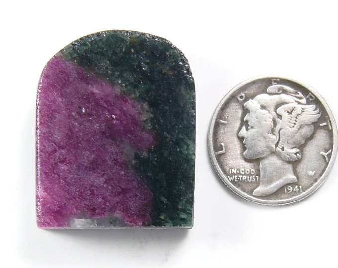Ruby in Zoisite preformed rough slab.  Natural material from Africa, 22 x 26 x 8 mm, translucent ruby.  (rs41911)