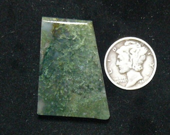 Green Moss agate preformed rough slab, 24 x 32 x 7 mm, natural translucent stone (rs102506)