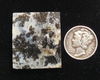 Medicine Bow preformed rough slab,  25 x 28 x 5 mm,  natural black dendrites, plume agate, scarce (rs91703)