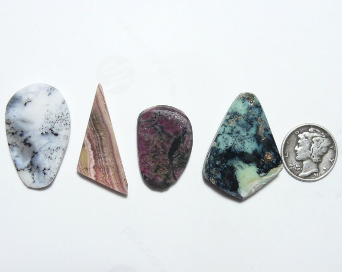 4 Preformed rough slabs, lot of 4, natural picture stones,  unique slabs for cabs or specimens (rs12711)