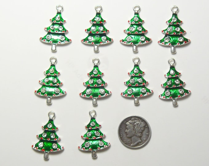 Christmas Trees for earrings, charms or pendants. lot of 10 for 8 dollars (js8908)