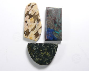 3 Preformed rough lapidary slabs, lot of 3 slabs, ready to cab, Peanut Wood, Shattuckite, Chinese Writing stone (rs61714)