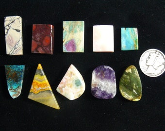 10 different preformed rough slabs, natural small unique and rare slabs for cabs rings accents or specimens (rs12411)
