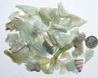 Ancient Roman Glass Shards (36 g), small shards,  from ancient Hebron Roman glass factories, over 2000 years old  (g31013)