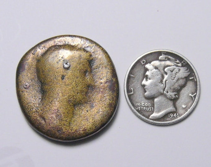 Unidentified Ancient Roman coin, 24x26x3.5 mm, 12.2 g, brass dupondius, cleaned, ready for jewelry or specimen (c51411) R
