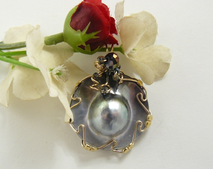 South Seas Blister Pearl Pendant, Wire Wrapped with 14k gold fill wire.(w1461)