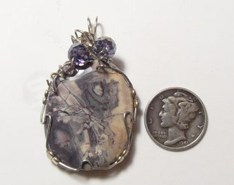 Porcelain Jasper wire wrapped pendant, natural cabochon, polished back (j82903)