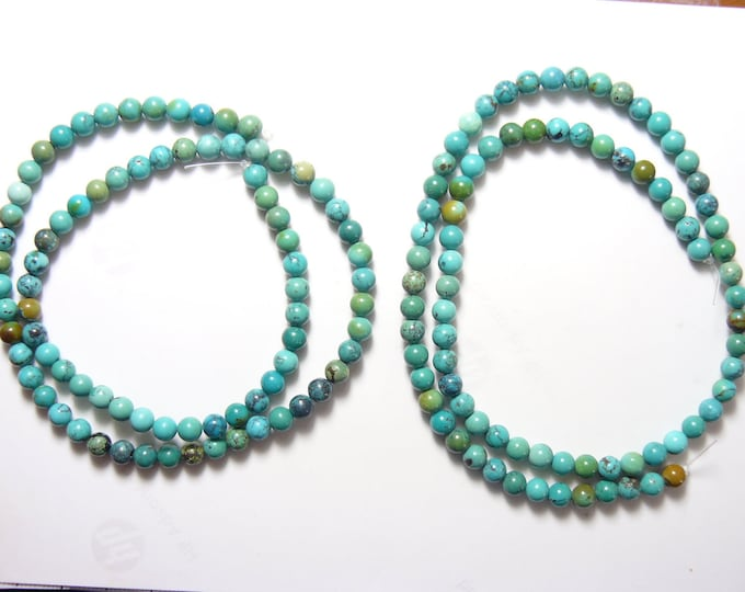 """Chrysocolla 5 mm beads, 2 15.5"""" natural stone bead strands, Green, Blue, Brown. top grade, polished beads. (rs31914)"""