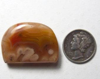 Brazilian Agate cabochon, 28 x 20 x 5 mm, natural stone, orbs, golden brown cab (c62402)