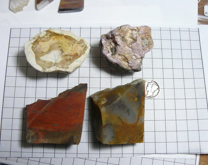 4 small lapidary rough chunks, Amethyst Sage, Binghamite, Stichtite, 1 unidentified (rc122701)