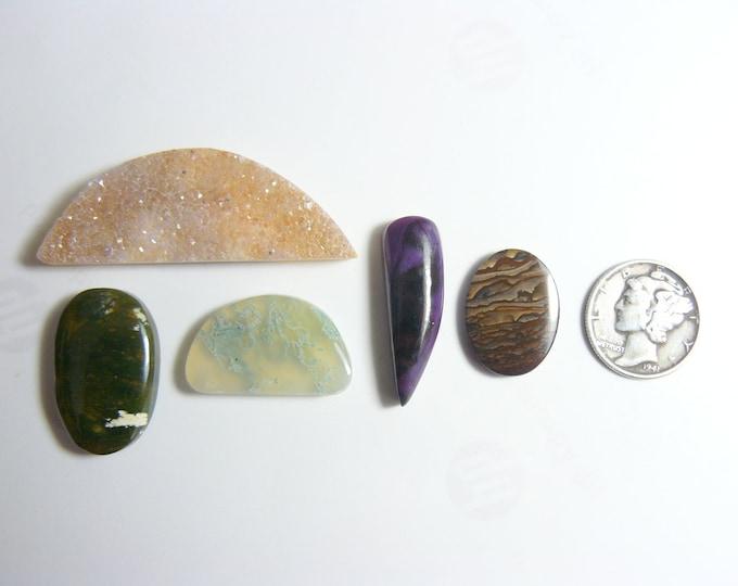 5 designer cabochons, natural, Agate Druzy, Green Moss Agate, Sugilite, Chrome Chalcedony, Biggs Jasper (c22011)