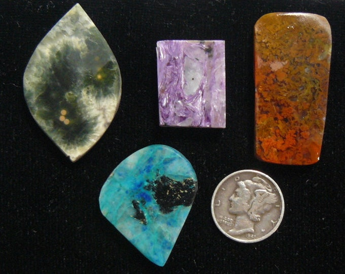 4 preformed slabs, Ocean Jasper, Charoite, Red Moss Agate, Chrysocolla, natural, unique and rare slabs (rs52801)