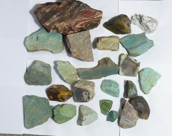 17.5 lbs of rocks.  24 chunks.  Natural. Cut for cabs, slabs or keep as  specimens.  Free Shipping. (s71411)