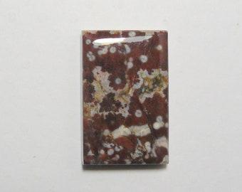 Lake County poppy jasper designer cabochon, 17x26x5mm, brown gray white jasper (c51502)