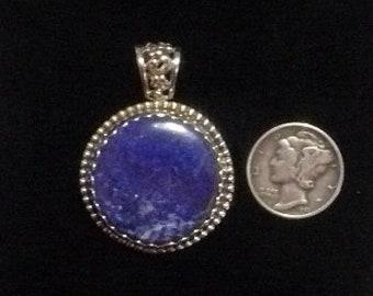"Lapis pendant, 1 1/2"" x 1 1/8"",, natural cab, SS setting, flashing pyrite, blue and gray, (j91605)"