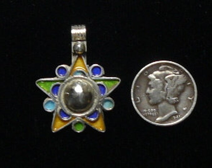Moroccan Berber SS Star of David pendant with green blue gold enamel, lot of 7 pendants. (s61608)