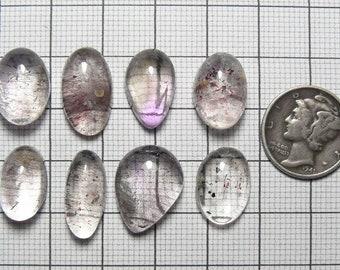 8 Lepidocrocite (Super Seven) in Quartz Designer Cabochons, natural Brazilian quartz (c71201)