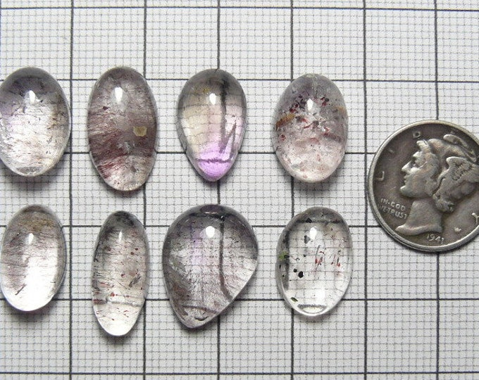 8 Lepidocrocite (Super Seven) in Quartz Designer Cabochons, natural Brazilian quartz (c71201)