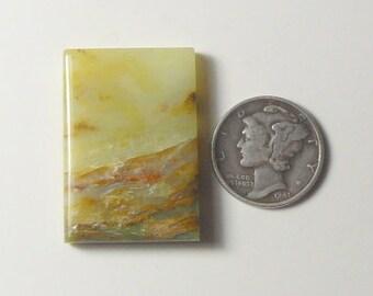 Peruvian Opal picture cabochon, 21 x 31 x 5 mm, mirror polish all sides, natural stone, translucent, unique.  (c9104)