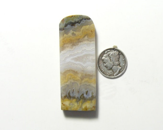 Prudent Man Plume Agate rough preformed slab, 21 x 55 x 7 mm, natural (rs32512)