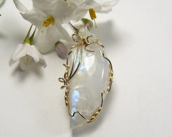 Rainbow Moonstone wire wrapped cabochon, 14kgf wire, natural, finished all sides, iridescent  (j82904)