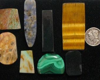 8 Preformed rough slab lot, natural unique and rare slabs for cabs or specimen (rs72201)