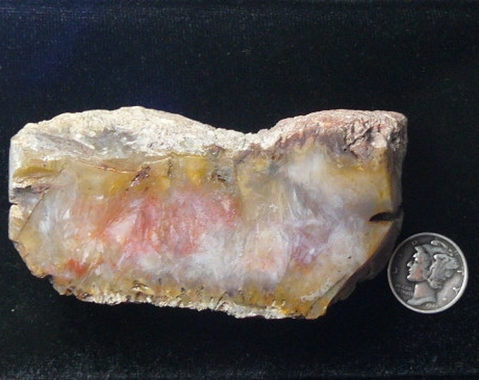 "Red moss agate chunk, 3""x 1 3/4""x 1 1/4"", 6 oz, red gray brown, translucent, finish as a specimen or cabs  (rc91801)"