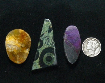 Preformed rough slabs, lot of 3, ready to cab,  Golden Moss Agate, Kambaba Jasper, Sugilite, natural stones (rs11615)