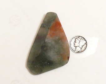 African Bloodstone preformed rough slab, 37 x 62 x 6.5 mm, translucent, Cherry Orchard agate from Africa (rs101501)