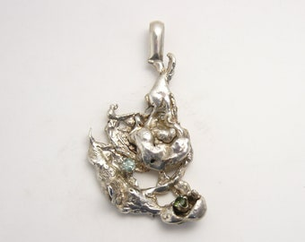 Sterling Silver abstract designer pendant, with 4 mm Green Tourmaline and 4 mm Blue Aquamarine, artistic (J72011)