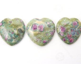 Ruby in Fuchsite heart shaped cabochons, natural, fluorescent Ruby, from India (c72215)