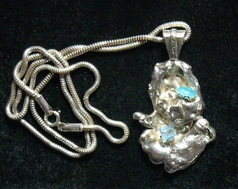"""Gem Silica, Aquamarine and Sterling Silver artistic handmade pendant and SS 20"""" seamless chain (j72004)"""