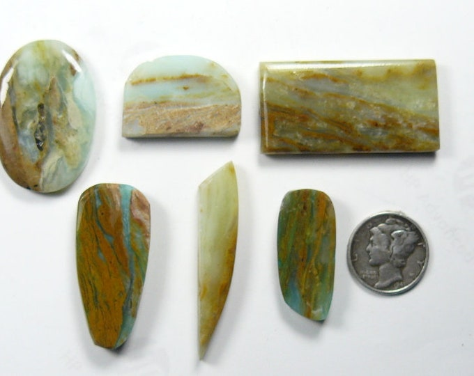 6 Peruvian Opal preformed rough slabs, lot of 6, translucent, unique blue and brown colored picture opal.  (rs4911)